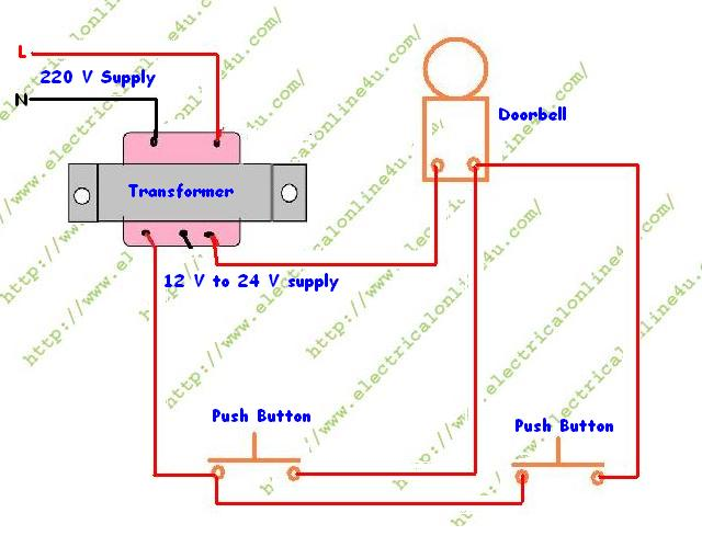 wiring%2Bdiagram%2Bof%2Bdoorbell%2B2%2Bdoor%2Bsystem how to wire a doorbell electrical online 4u typical doorbell wiring diagram at soozxer.org