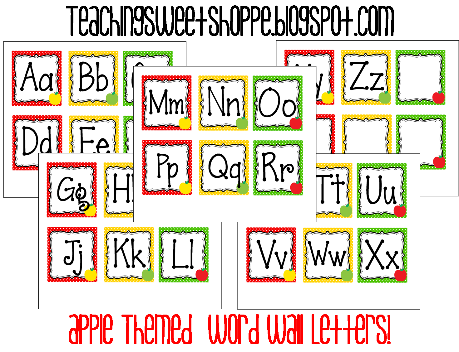 Word Wall Letters The Teaching Sweet Shoppe Apple Themes Word Wall Cards
