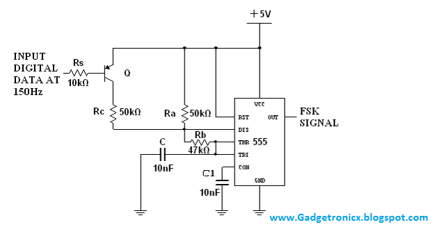 FSK modulator and demodulator using IC NE 555