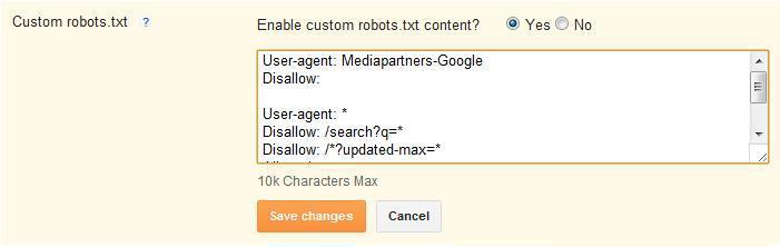custom robot txt