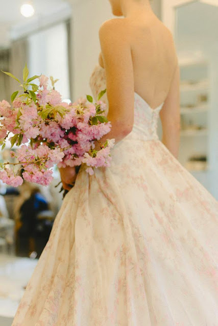 Bridal Fashion Week 2015 New York City Romona Keveza Weddings Floral Brocade Fabric Pink Brocade Wedding Dress