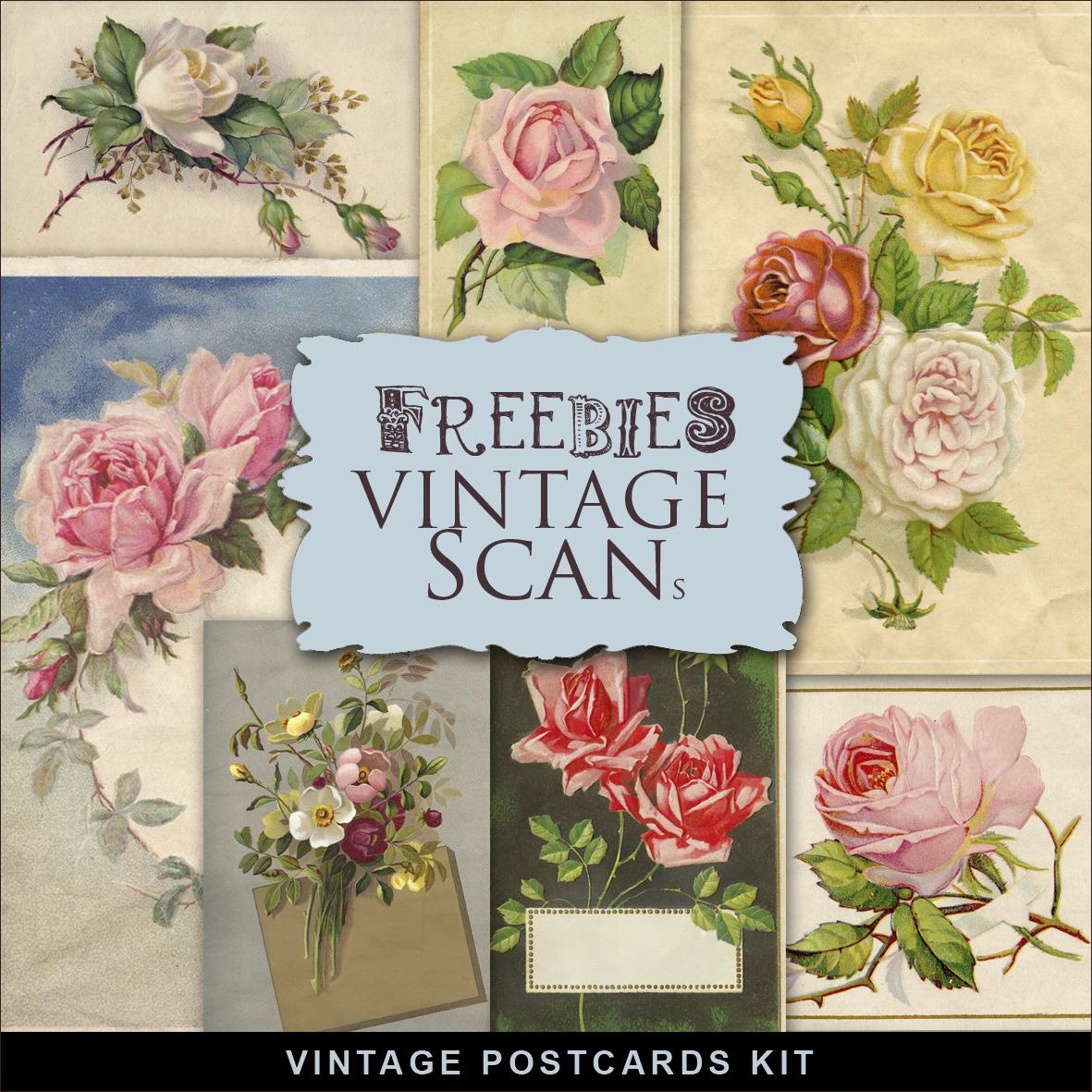 Freebies Kit Of Vintage Floral Postcards:Far Far Hill