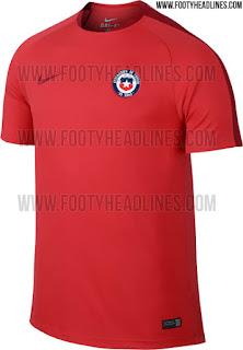 gambar desain jersey musim depan chili chile home away Jersey training Timnas Chile warna merah terbaru 2016 di enkosa sport