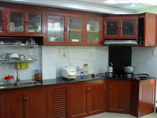 tủ bếp nhôm kính treo tường 1