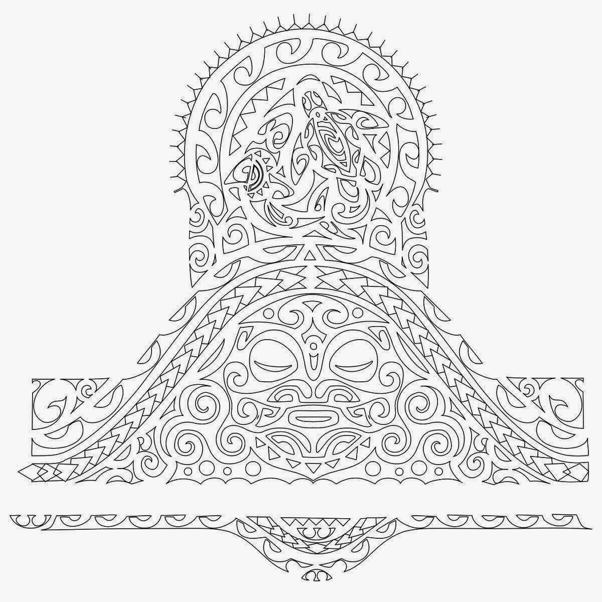 Tribal Half Sleeve Turtle And Mask Tattoo Stencil