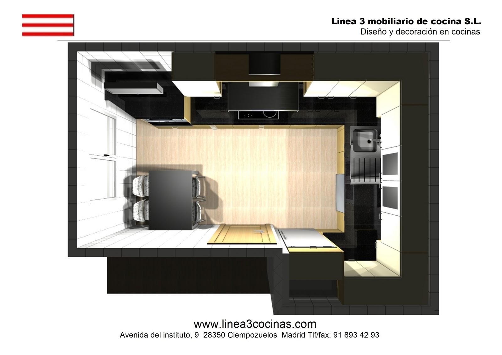 Dise o y decoraci n de cocinas cocina de dise o en for Cocina 3 metros pared