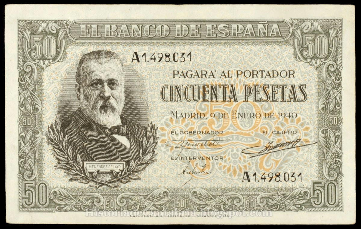 Billete de 50 pesetas de 1940