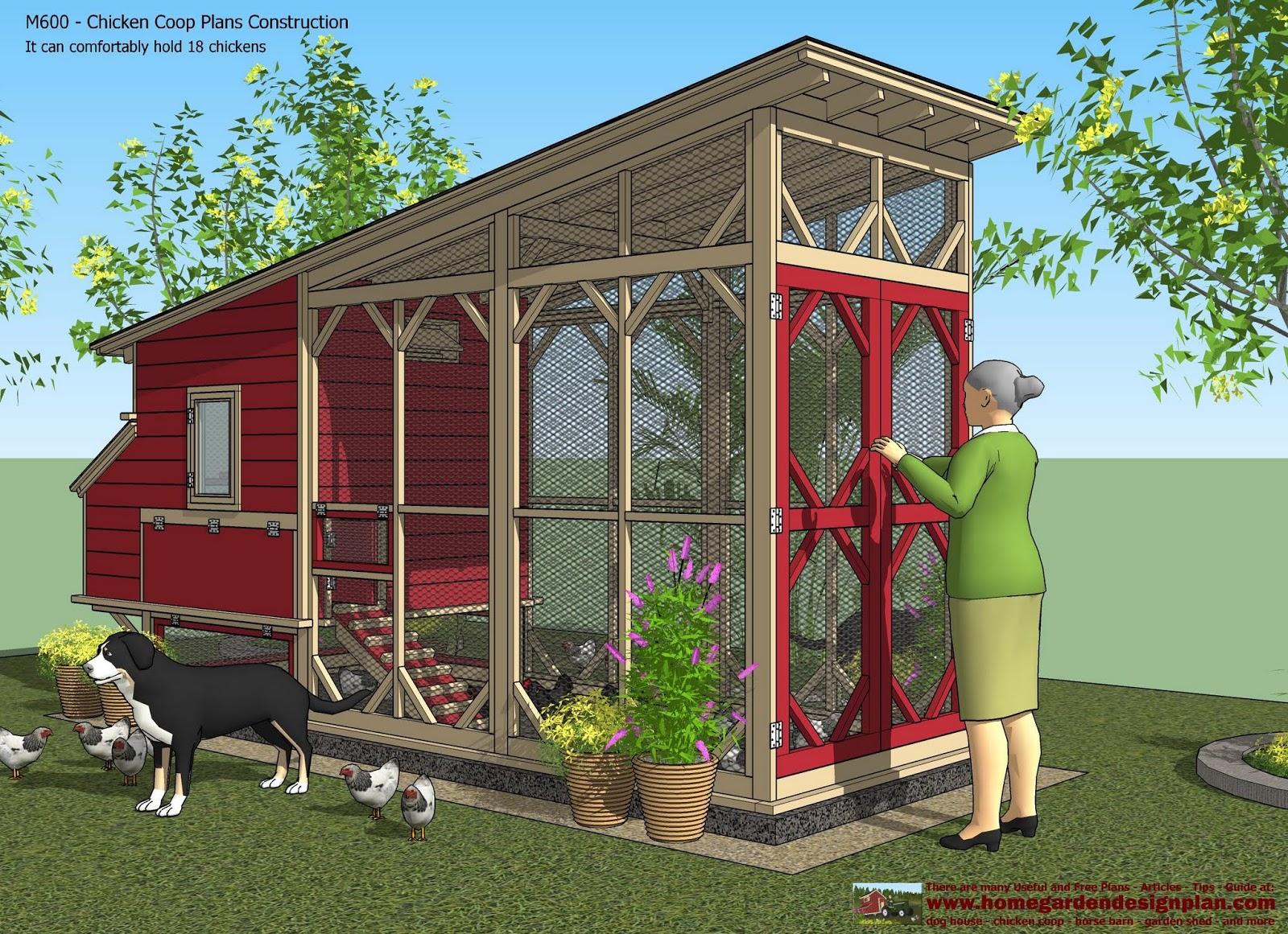 Chcken coop m600 chicken coop plans construction chicken for Coop house plans