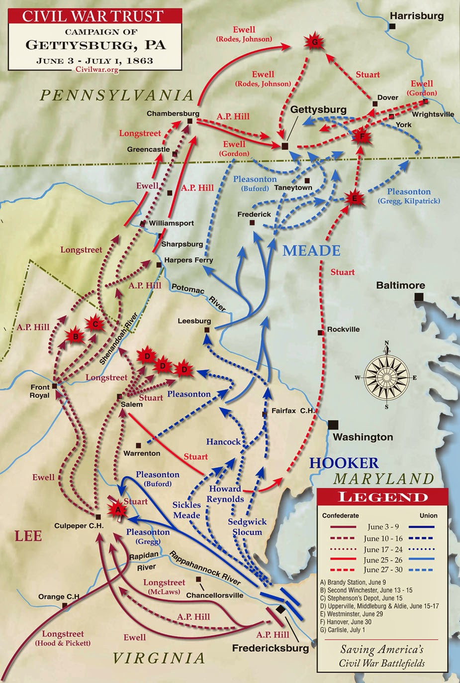 Gettysburg campain map