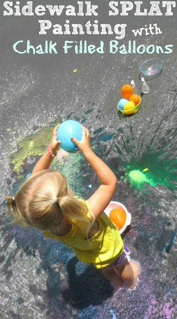Sidewalk SPLAT Painting with Chalk filled Balloons
