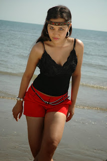 Nisha Kothari in Lovely Red Shorts and Black Tank Top Beech Side Pics