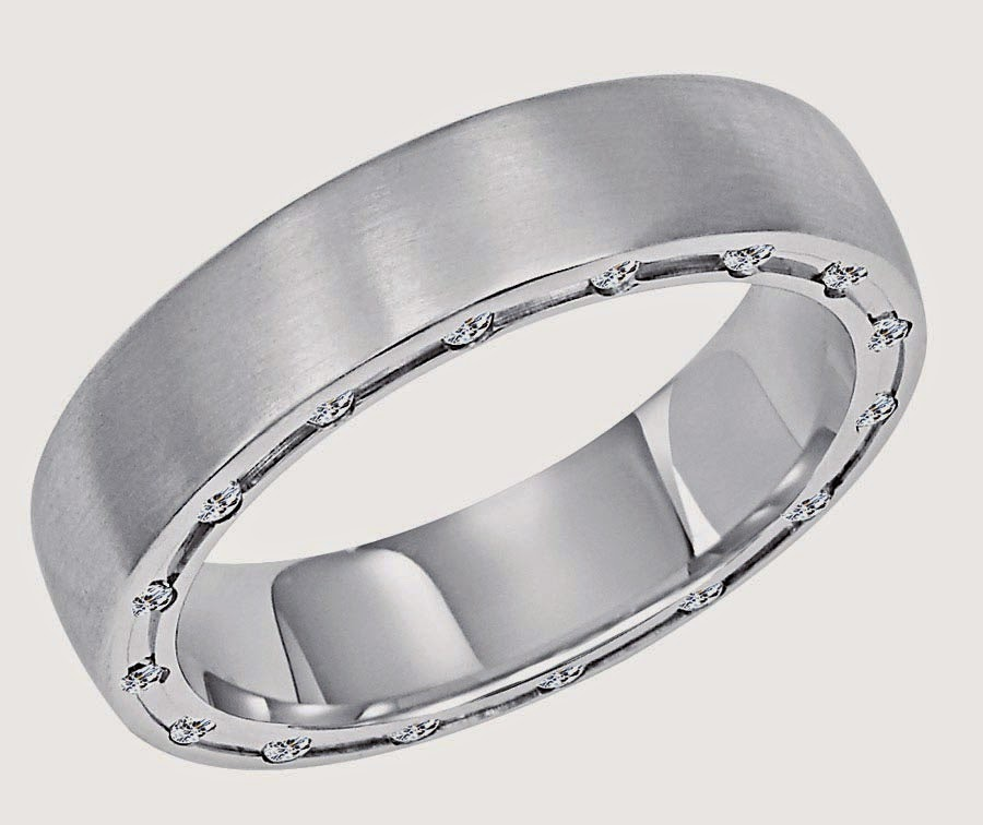 Mens Wedding Bands Simple White Gold Model