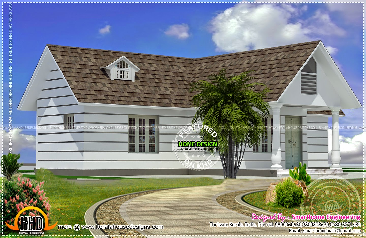 Western style small one storied home kerala home design for Western style homes pictures