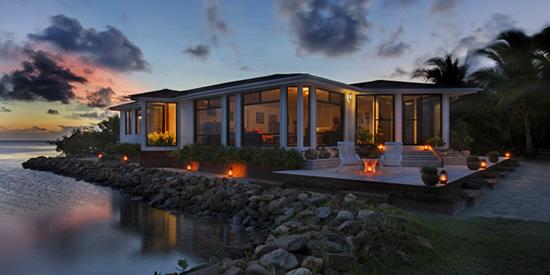 The main villa at sunset