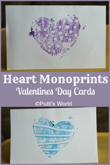 Heart Monoprints on Styrofoam
