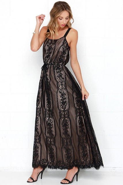 Palace Party Beige and Black Lace Maxi Dress