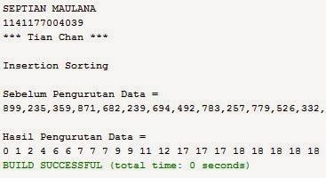 Program Insertion Sorting Java Netbeans