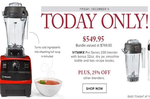 Hudson's Bay Vitamix Pro Series Blender $200 Off + 25% Off Other Blenders