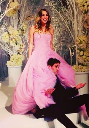 Kaley Cuoco Pink Wedding Dress