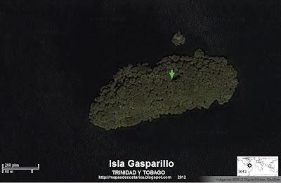 Foto de satelite de la Isla Gasparillo, TRINIDAD Y TOBAGO
