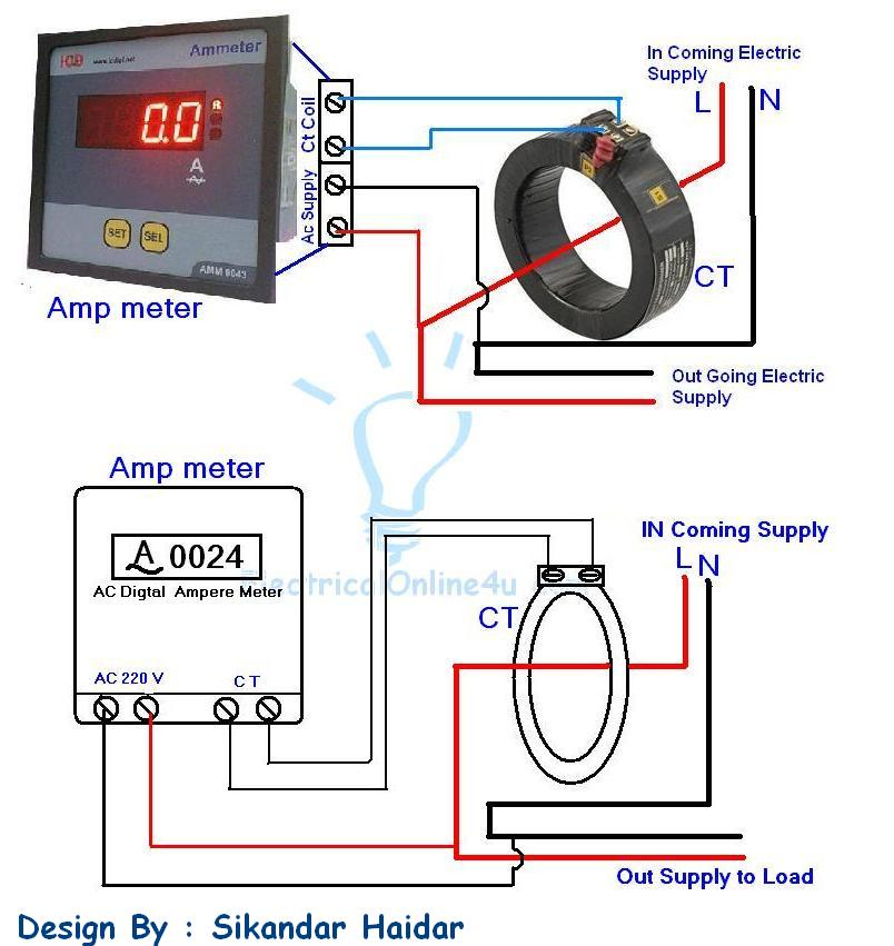 ammeter%2Bwiring%2Bdiagram digital ammeter wiring with current transformer ct coil amp meter wiring diagram at crackthecode.co
