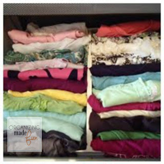 How to fold a shirt in quarters {similar to Konmari} :: OrganizingMadeFun.com