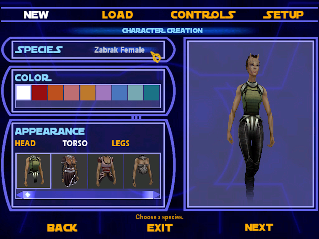 Star Wars Jedi Academy character creation screen