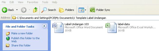 Simpan File Template Format Label Undangan 103 dalam Satu Folder