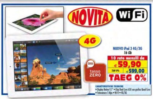 Finanziamento a rate tasso zero su nuovo iPad 4G + 3G