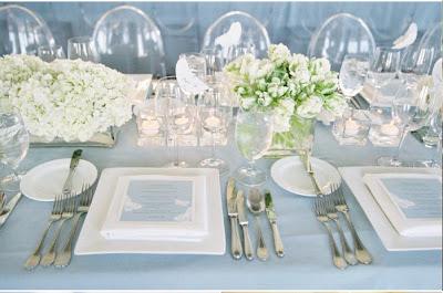 """Décoration de table de mariage """"blanc épuré Zen"""""""