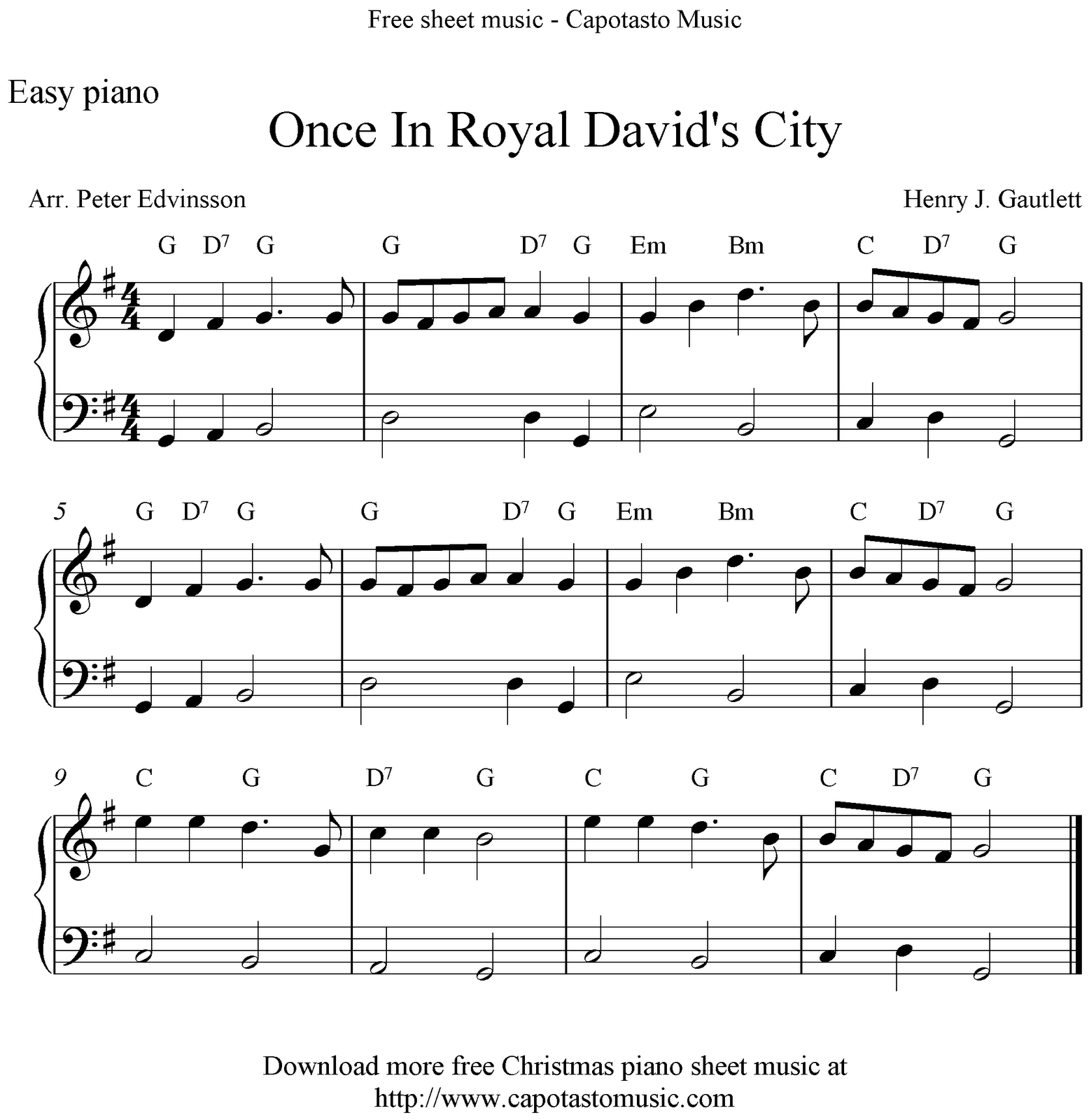 Free Christmas Piano Sheet Music Notes Once In Royal