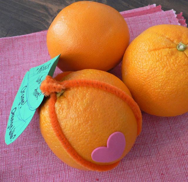 Healthy Valentine Treats for kids, orange valentin