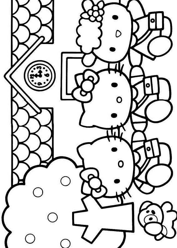Desenho como desenhar Hello Kitty Na Escola pintar e colorir