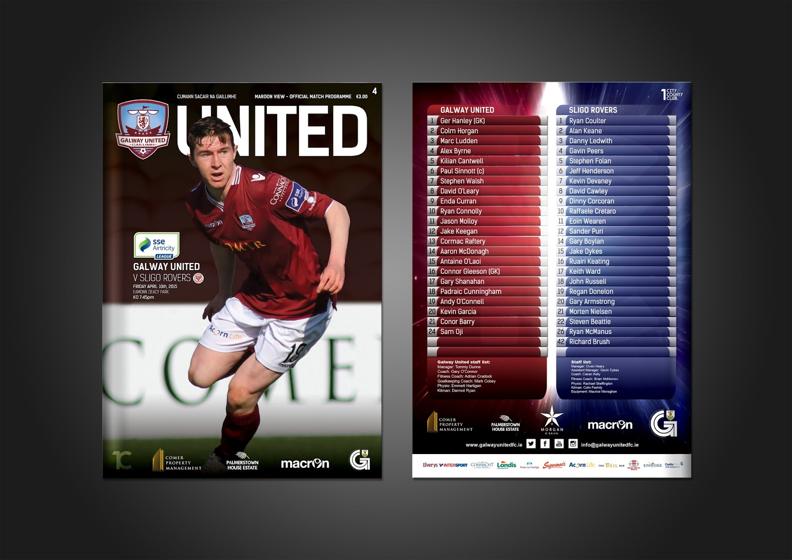 Poster design galway - Match Programme Cover