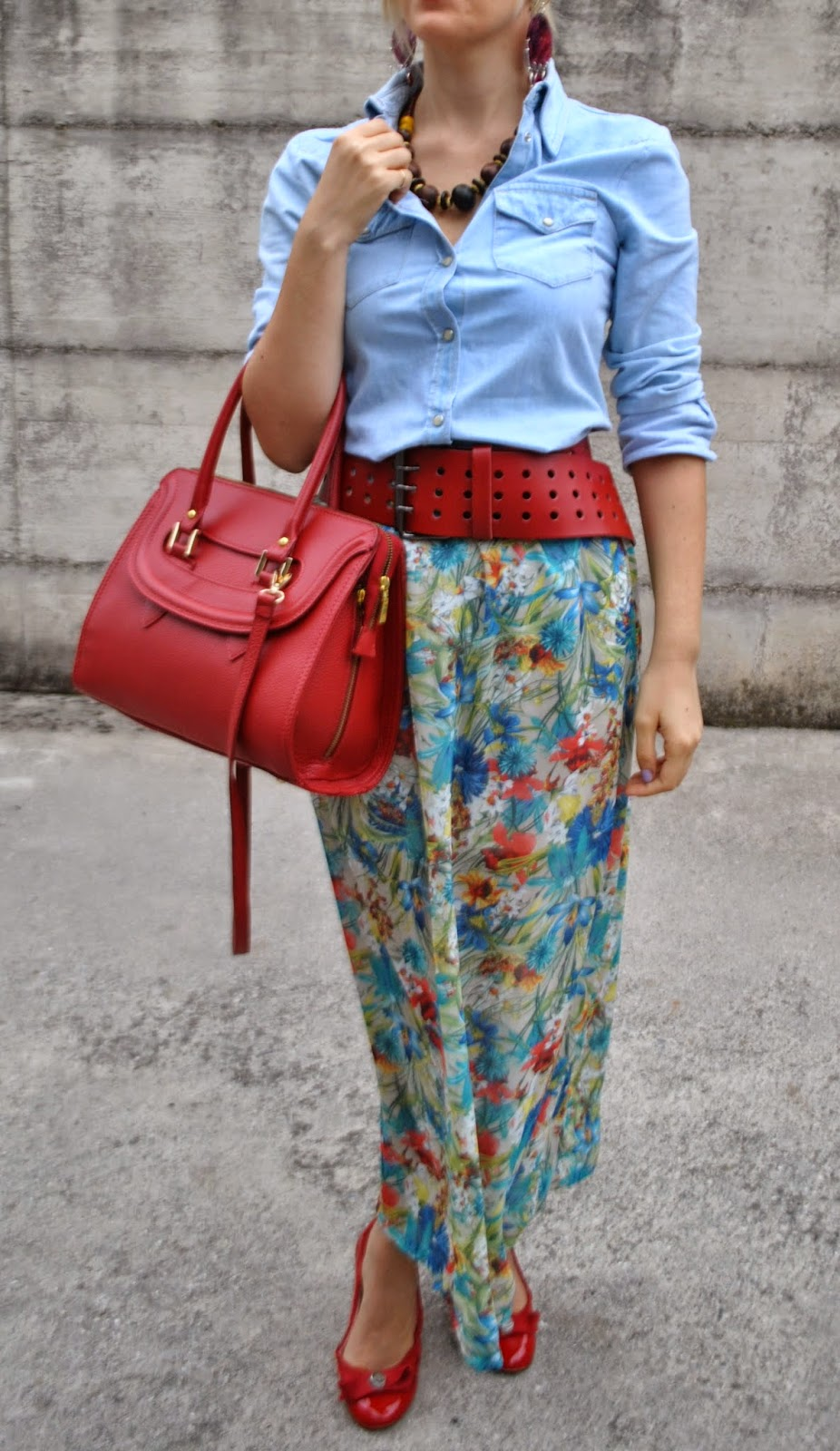 color block by felym floral skirt and denim shirt