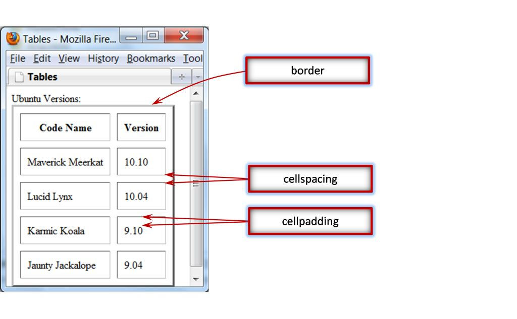 html modifying the table border alignment cellspacing