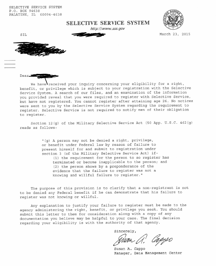 selective service letter reply - update - us citizenship general