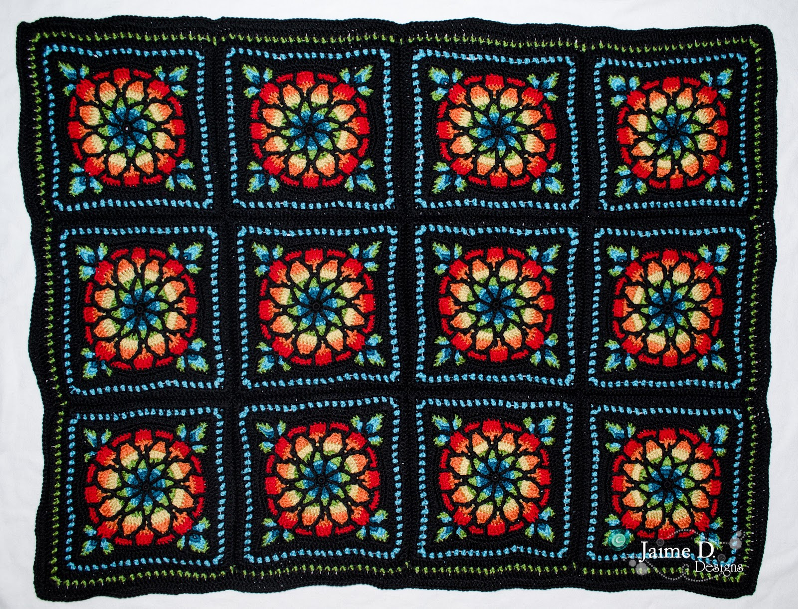 Jaime D. Designs: Stained Glass Afghan Completed!