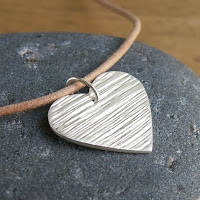recycled fine silver woodgrain heart necklace by Jennifer Kistler