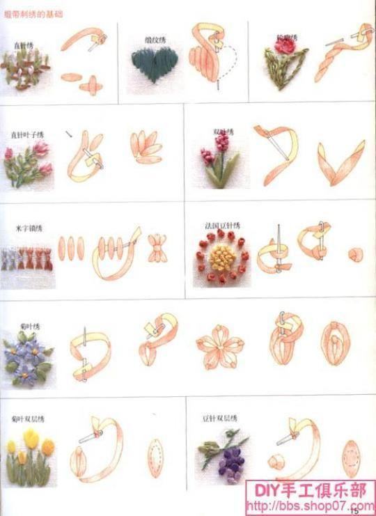 Ricamo con nastri come fare ribbons embroidery how to