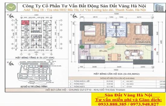 Mặt bằng chi tiết căn hộ chung cư Đại Thanh CT10