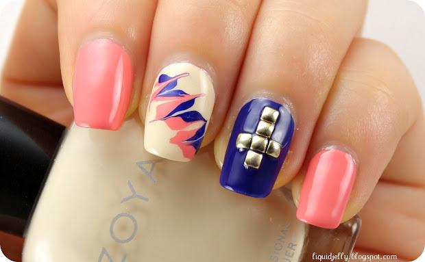 liquid jelly studded cross nail