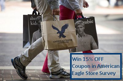 AE.com/tellus: Win 15% OFF Coupon in American Eagle Store Survey