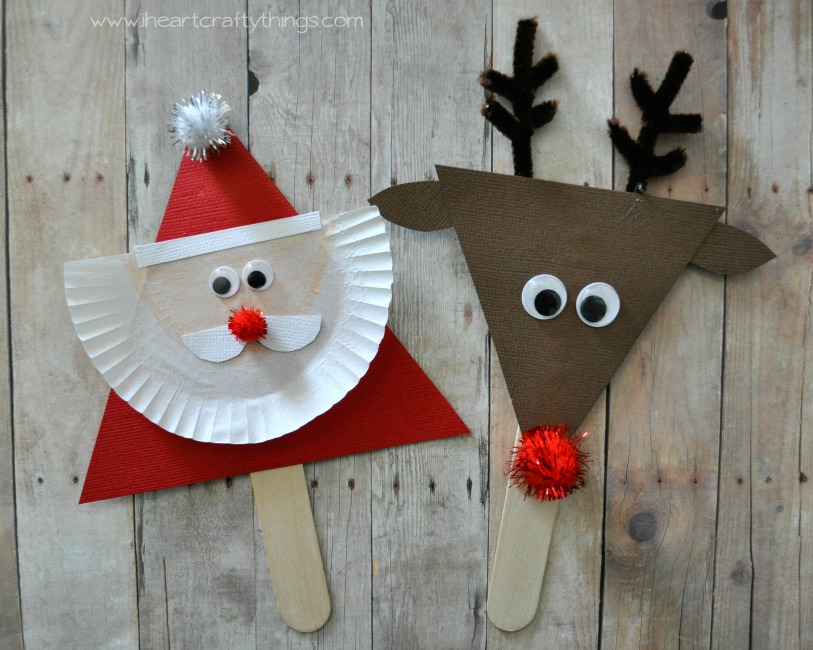 I heart crafty things santa and reindeer stick puppets for Reindeer project