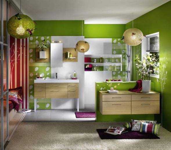 Baños Color Verde Oscuro:baño paredes verdes