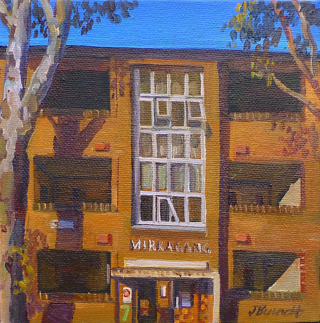 plein air oil painting of housing commission apartments in Cowper Street Glebe/Ultimo by artist Jane Bennett