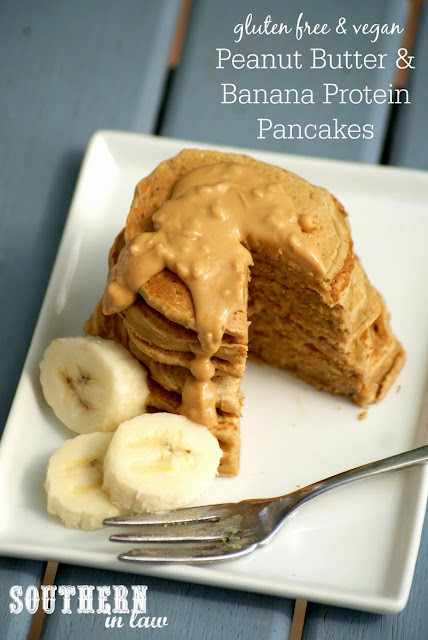 Healthy Vegan Peanut Butter and Banana Protein Pancakes Recipe  gluten free, vegan, healthy, sugar free, clean eating, low fat