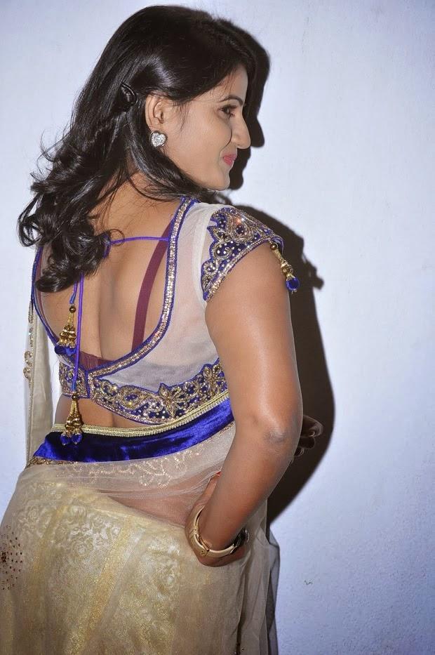 Tanusha Hot Photos Navel and Back Show In Transparent Saree - Panel ...