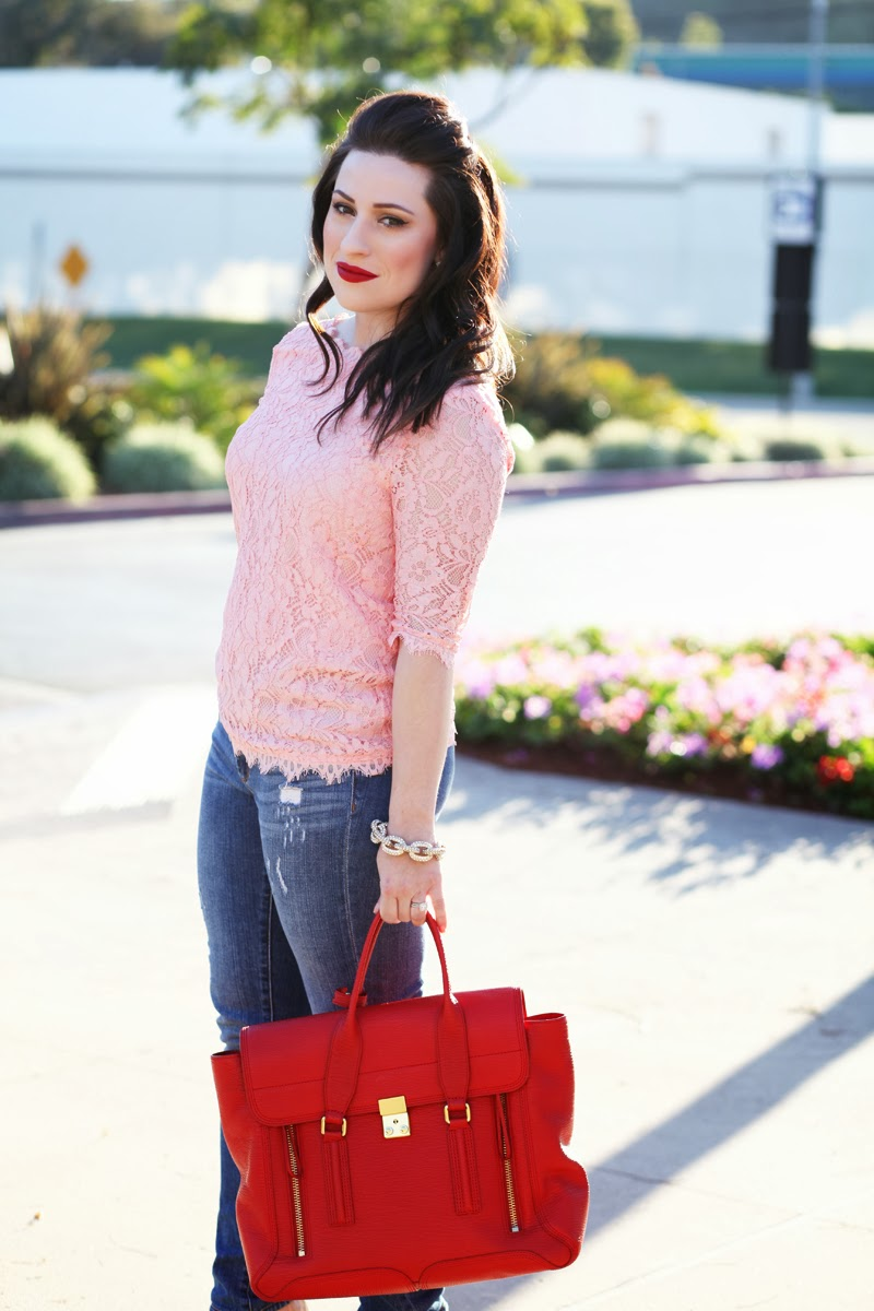 valentines-day-outfit-ideas-casual-look-pink-lace-top-jcrew-denim-3.1-phillip-lim-pashli-bag-stila-red-lipstick-king-and-kind-style-blog