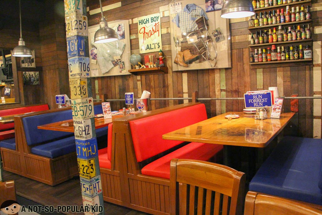 Tables and chairs in Bubba Gump in Greenbelt 3, Makati
